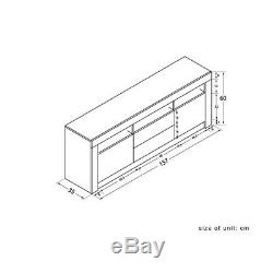 160cm Large Sideboard Black Modern TV Unit Cabinet High Gloss Drawer Door LED UK