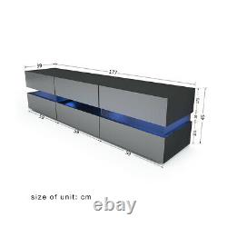 177cm Large TV Unit Stand Cabinet High Gloss Drawers Doors With LED Lights Black