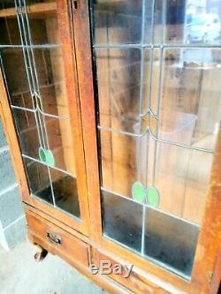 1920, S Antique Bookcase Light Oak Stained Glass Doors Drawers Large