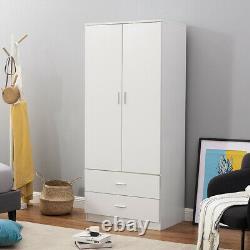 2 Door 2 Drawer Wardrobe White Matt Large Wooden Wardrobes Bedroom Furniture