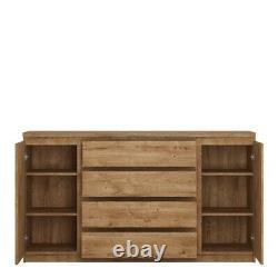 2 Door 4 Drawer Wide Sideboard in Oak W165 x H93 x D40 cm
