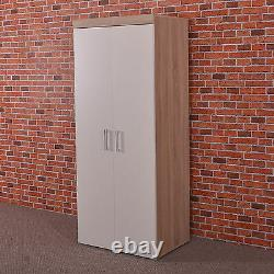 2 Door Wardrobe & 4 Drawer Chest in White & Sonoma Oak Bedroom Furniture Set NEW
