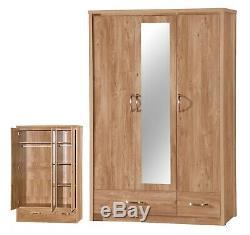 3 Door 2 Drawer Triple Large Mirrored Combi Wardrobe Oak Effect FREE DELIVERY