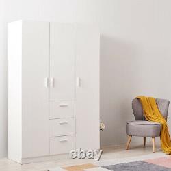 3 Door 3 Drawer Wardrobe White Matt Large Wooden Wardrobes Bedroom Furniture UK