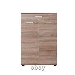 4 Adjustable Shelves Light Latte Oak Shoe Storage Cabinet 1 Drawer 2 Door