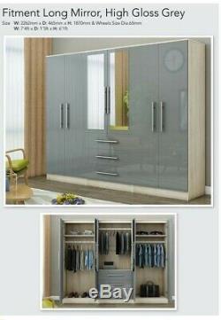4 Door 3 Drawer 2 Door mirror large fitment wardrobe Black, White High Gloss