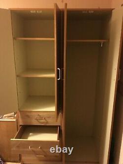 4 Door Large Wood Wardrobe Double Shelves Rail Magnetic Sturdy Bedroom Drawer