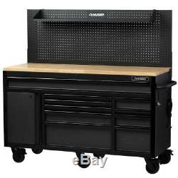 61 in. W 23 in. D 10-Drawer 1-Door Mobile Workbench with Solid Wood Top and Flip