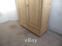 A Beaded Antique/Old Pine 2 Door 2 Drawer Large Knockdown Wardrobe to Wax/Paint