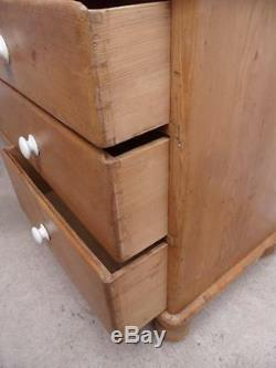 A Fabulous Late Victorian Antique Pine Large 7 Drawer 1 Door Dresser Base