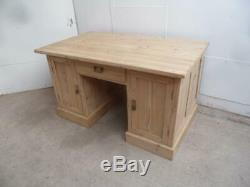 A Large 2 Door 1 Drawer Panelled Antique/Old Pine Office Desk to Paint/Wax