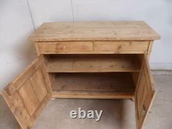 A Victorian Large Antique/Old Pine 2 Door 2 Drawer Dresser Base to Wax/Paint