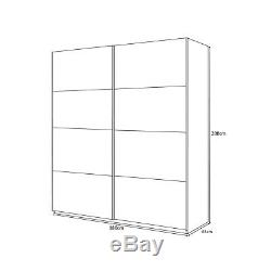 ANITA 2 Door Sliding Wardrobe Closet 180cm Large Satin White + 3 Drawer Chest