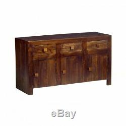 Agra Dark Mango Eco Wood Large 3 Door 3 Drawer Sideboard Cupboard Cabinet Unit