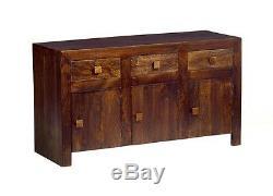 Ajak Mango Dark 3 Door 3 Drawer Large Sideboard Indian Furniture MB05