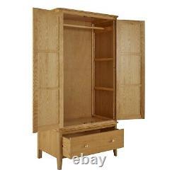 Alba Oak Double Wardrobe with Drawer 2 Door Large Solid Wooden Bedroom Storage