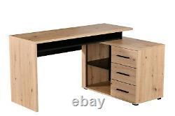 Alfano Oak and Black Large Corner Desk With Drawers Study Office Storage Desk