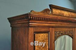 Antique Large Victorian Carved Burr Walnut Mirror Door Wardrobe With Drawer Base