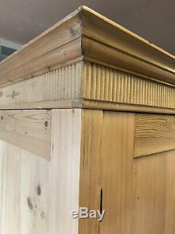 Antique Pine 2 Door 2 Drawer Large Knockdown Wardrobe