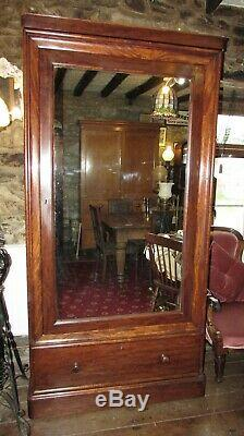 Antique Victorian large single mirror door WARDROBE 103x 203cms &drawer mahogany