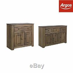 Argos Home Amersham Large Dark Pine Solid Wood Sideboard