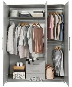 Argos Home Normandy Large 3 Door 3 Drawer Mirror Wardrobe Grey