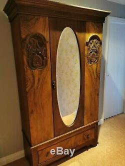 Attractive Large Antique Carved Solid Wood Mirror Door Wardrobe With Drawer