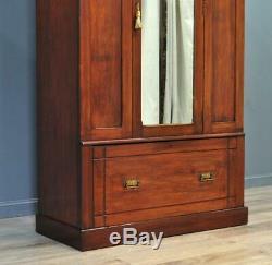 Attractive Large Antique Victorian Walnut Mirror Door Wardrobe With Base Drawer