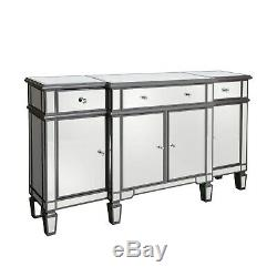 Aurora Boutique Grey Mirrored Sideboard with 4 Doors & 4 Drawers wi MRF325-00-GY