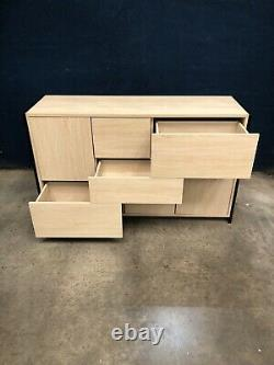 (BT) Large Light Oak Effect Sideboard Unit with Push To Open Doors & Drawers