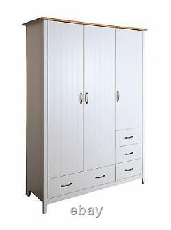Balham Grey Painted Large 3 Door 4 Drawer Triple Wardrobe with Oak Style Top