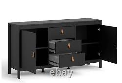 Barcelona Large Wide Sideboard Buffet Unit with 2 Doors + 3 Drawers In Black