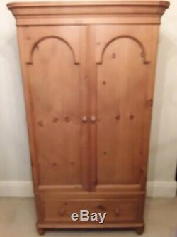 Beautiful large antique pine double wardrobe with 2 doors and a drawer
