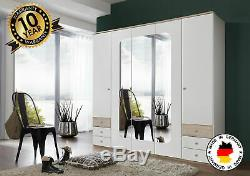 Bergen 5 Door Mirrored Wardrobe With Drawers Large Storage German Hang Rails New