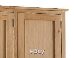 Bergen Light Oak Large 3 Door 2 Drawer Triple Wardrobe / Scandinavian Style
