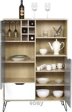 Bergen Tall Sideboard/wine Rack 2 Door Large Cupboards Drawer Storage Cabinet