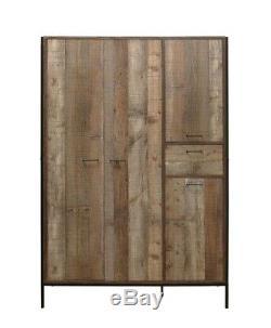 Birlea Urban Industrial Chic 4 Door Large Wardrobe with Drawer, Wood/Metal Style