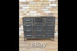 Black Large Industrial Metal Cabinet Chest 3 Drawers Doors Storage Unit