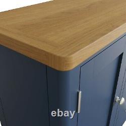 Blue Large Sideboard / Dovedale Painted Oak Wood Cupboard / Cabinet Doors Drawer