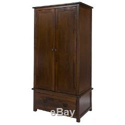 Boston Traditional Quality Solid Pine Dark Wood 2 Door 1 Drawer Large Cupboard