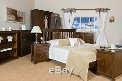 Boston Traditional Quality Solid Pine Dark Wood 2 Door 2 Drawer Large Wardrobe