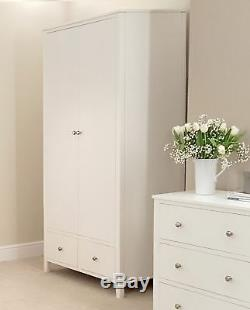 Brooklyn WHITE Double Wardrobe. Large 2 door wardrobe with deep drawers. STURDY