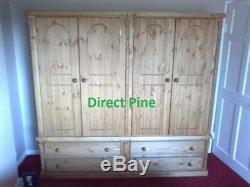 Buckingham Hand Waxed 4 Door 4 Drawer Ex Large Wardrobe No Flat Pack