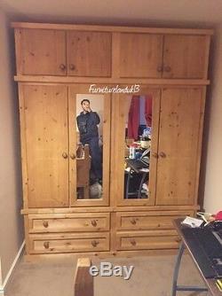 Buckingham Handwaxed 4 Door 4 Drawer Ex Large Wardrobe With Topbox & 2 Mirrors