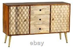 CNC Retro Mango Wood 3 Drawers and 2 Doors Large Sideboard Dining Room Furniture