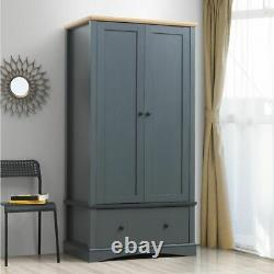 Carden 2 Doors Double Wardrobe with 1 Large Drawer in Dark Grey & Oak