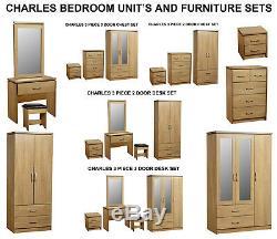 Charles Modern Oak Large 3 Door Mirrored Wardrobe Unit & Bedroom Furniture Sets