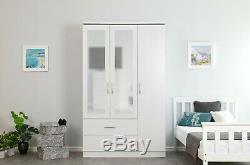 Charles White Ash Effect 3 Door 2 Drawer Triple Large Mirrored Combi Wardrobe