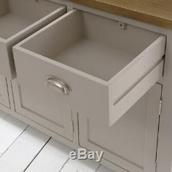 Chester Grey Painted Large Glazed Dresser + 3 Door 3 Drawer Sideboard -GS26-GS35