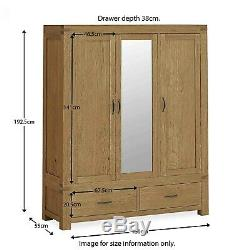 Chunky Oak Triple Wardrobe Rustic Large 3 Door 2 Drawer with Mirror Abbey Grande